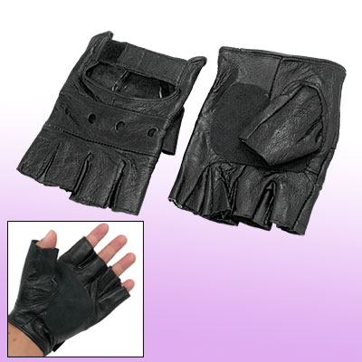 Sport Cycling Black Faux Leather Half Finger Gloves