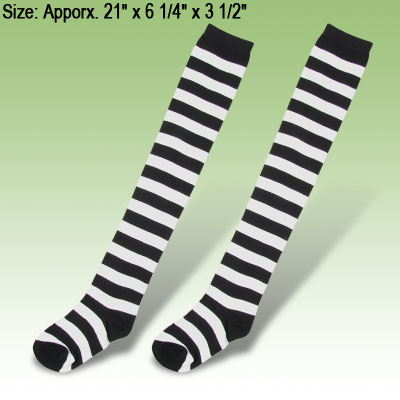Stripe Style Thigh High Hold Ups Opaque Stockings White Black