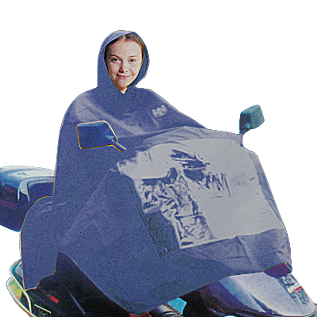Navy Blue Motorcycle Rain Poncho Raincoat Waterproof Rainwear