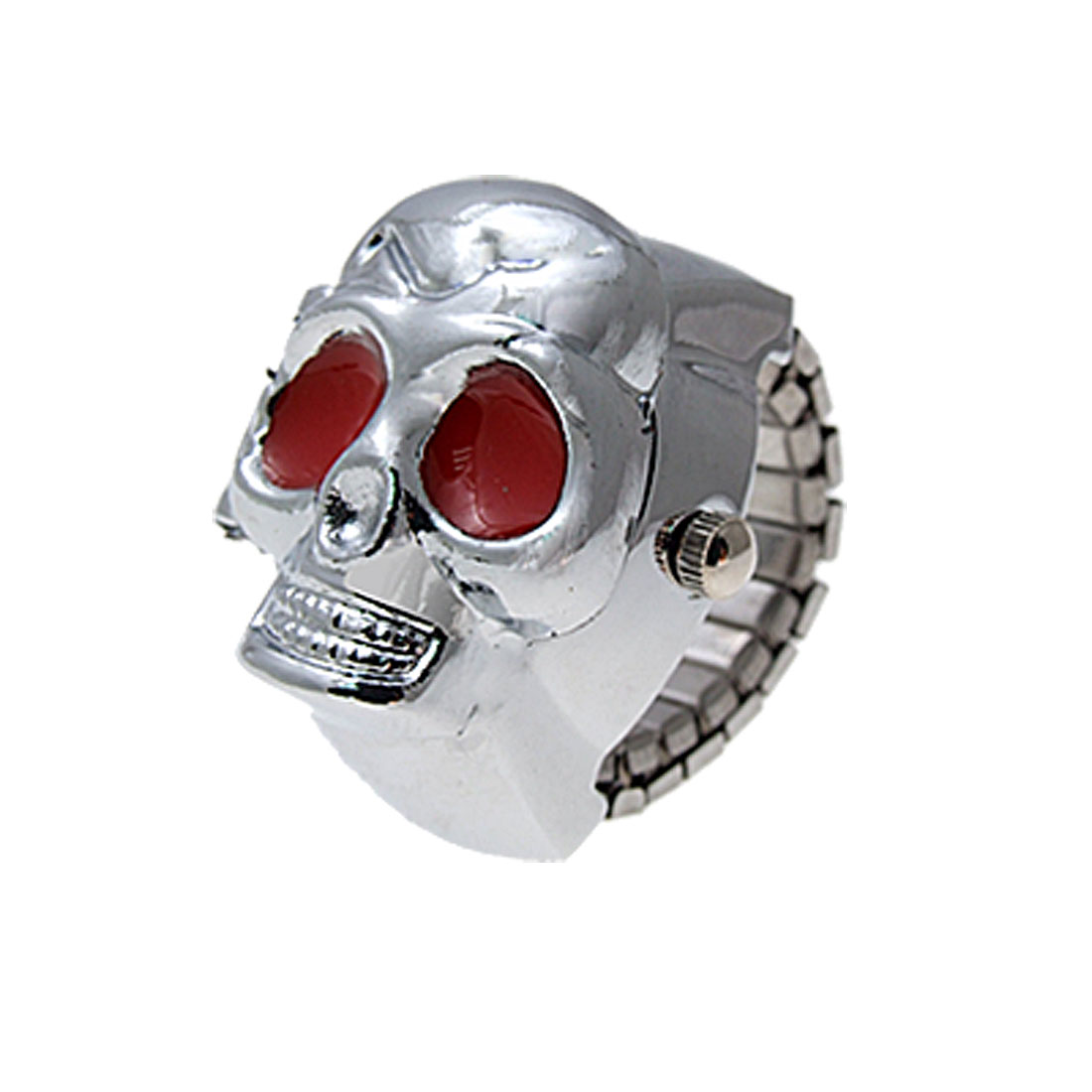 Arab Num Silver Tone Skull Finger Ring Watch Stretch Band