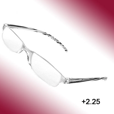 Unisex +2.25 Clear Lens Presbyopic Reading Glasses