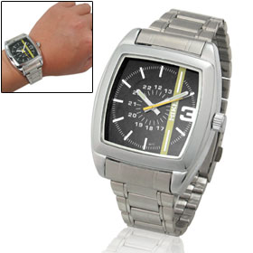 Stainless Steel Band Black Dial Quartz Wrist Watch for Men