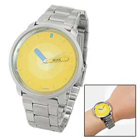Yellow Dial Round Case Fashion Men's Quartz Wrist Watch