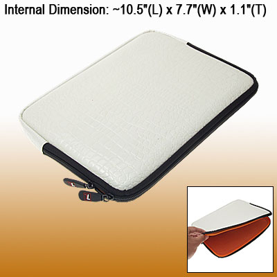 "White Snakeskin Design 10.2"" Laptop Faux Leather Bag Sleeve Case"