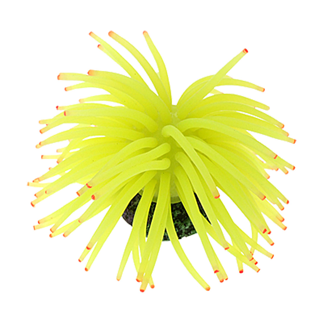 Medium Yellow Green Silicone Sea Anemone Aquarium Tank Ornament