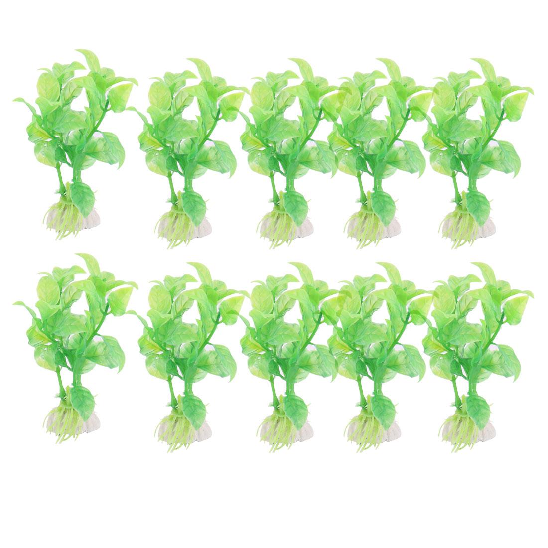 10 PCS Green Plastic Grass Aquarium Plants Fish Tank Decoration