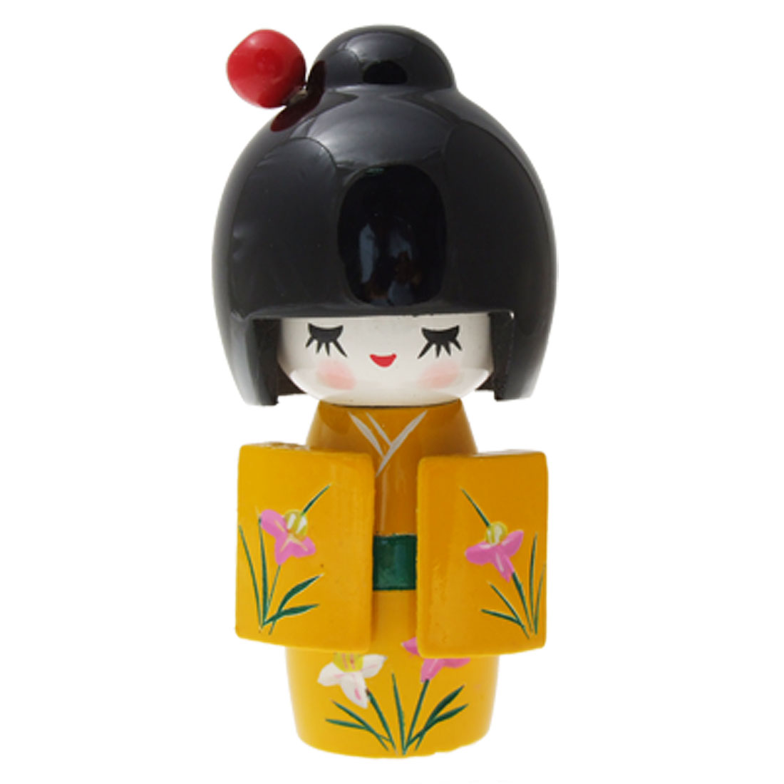 Yellow Kimono Japanese Kokeshi Wooden Doll Decoration
