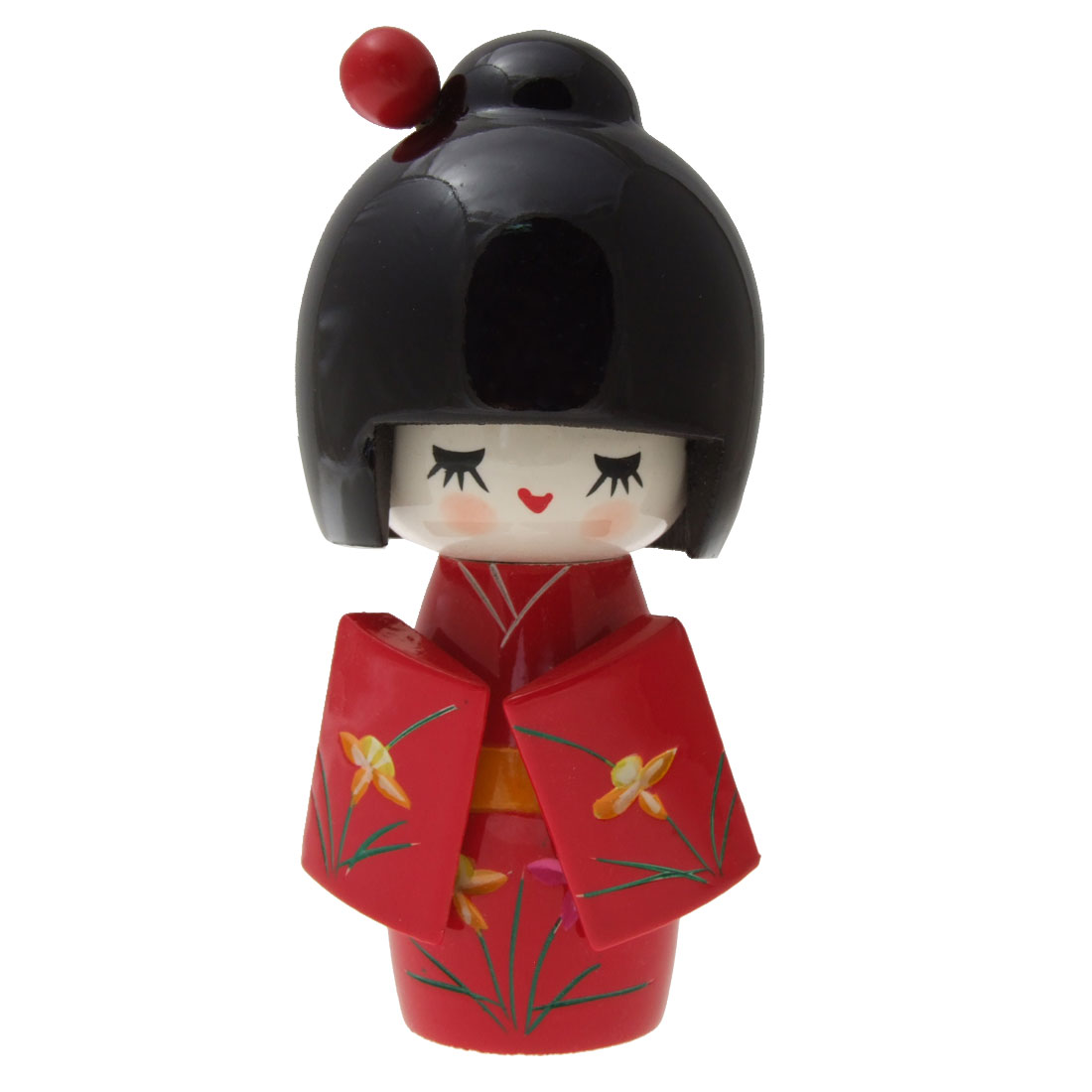 Japanese Kimono Kokeshi Doll Toy Desk Desktop Wooden Smiling Girl Ornament Red