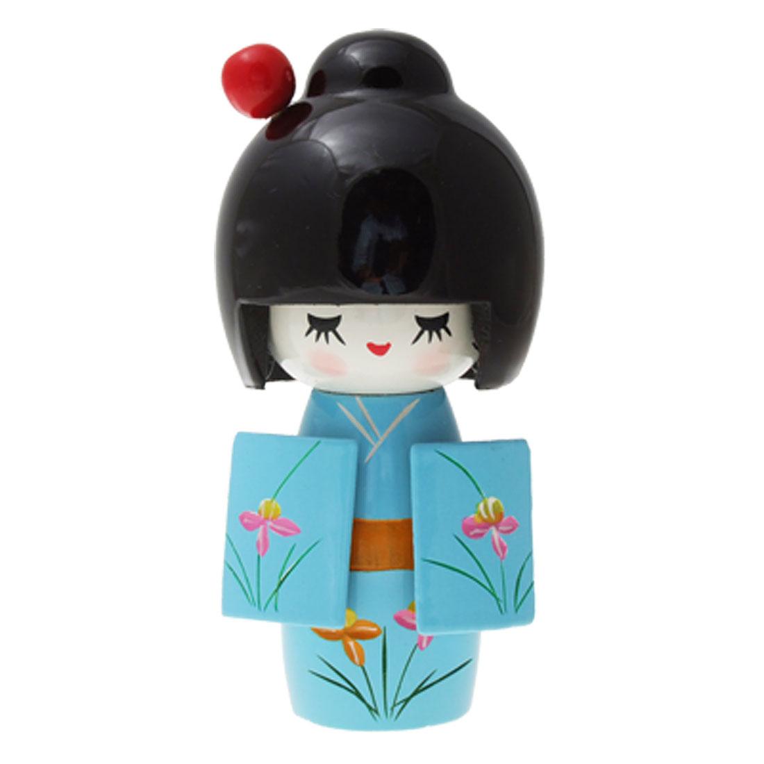 Wooden Japan Kimono Kokeshi Doll Desk Table Decor Babyblue