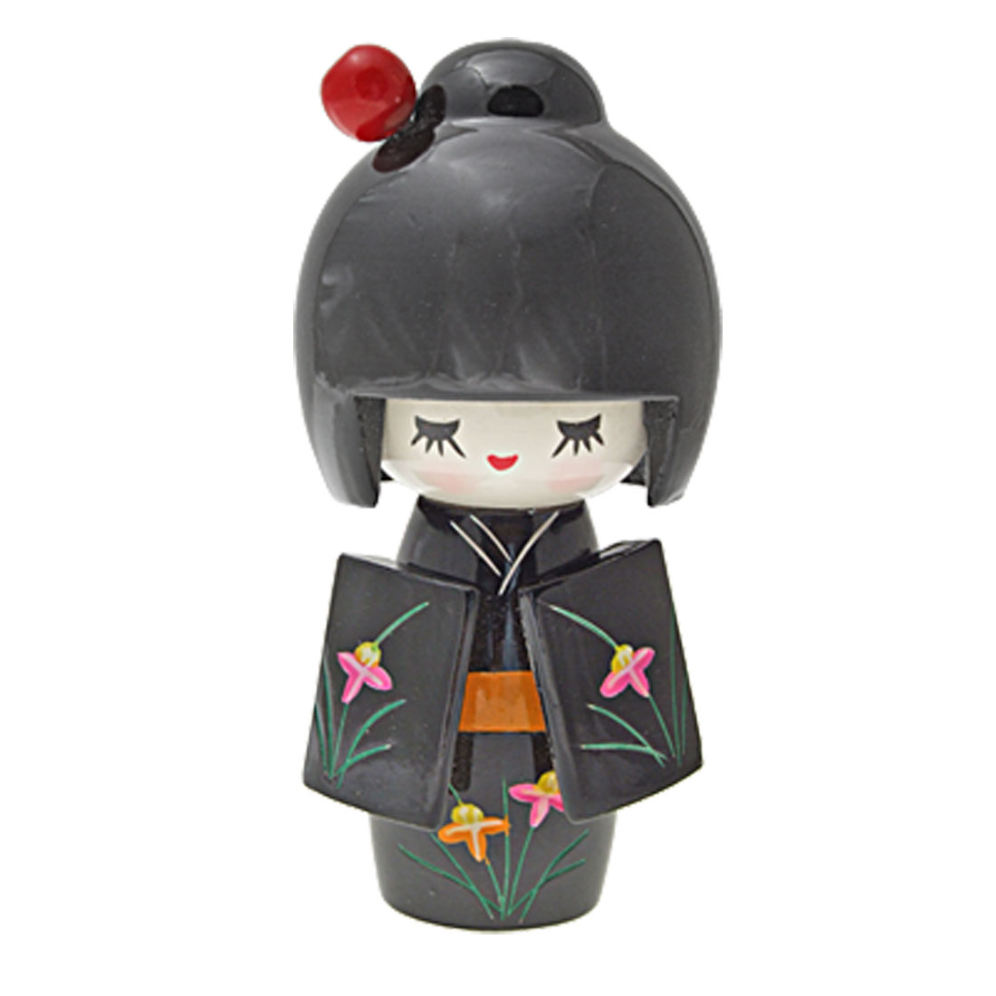 Flower Black Kimono Japanese Painted Wooden Kokeshi Doll Ornament