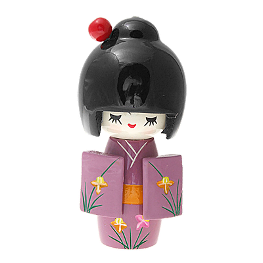 Japanese Wooden Doll Ornament Purple Kimono Kokeshi