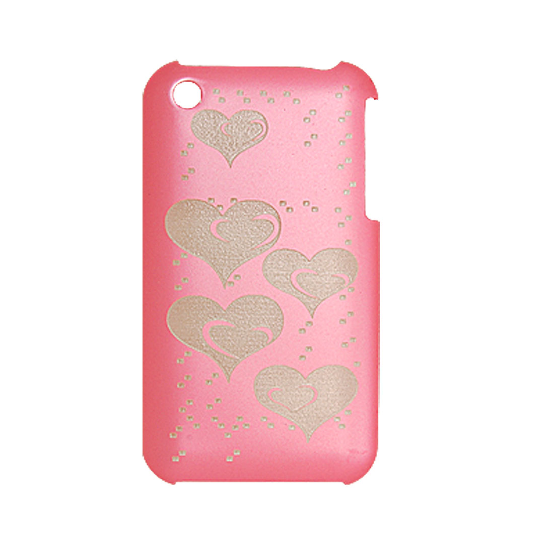 Screen Guard + Heart Plastic Back Case for iPhone 3G Pink