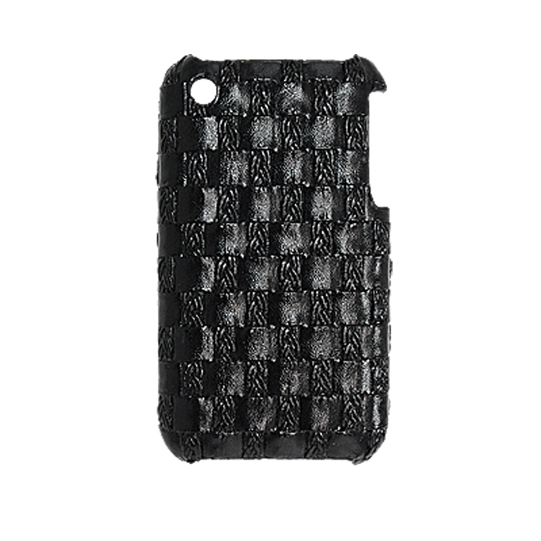 Black Lattice Faux Leather Coated Back Case for iPhone 3G
