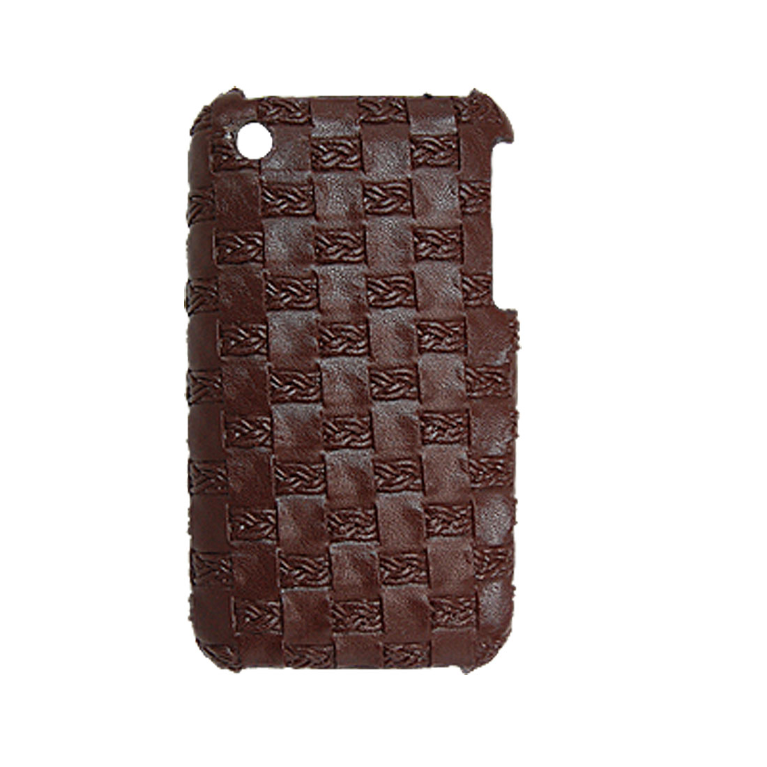 Plastic Lattice Leather Coated Back Case for iPhone 3G Dark Brown