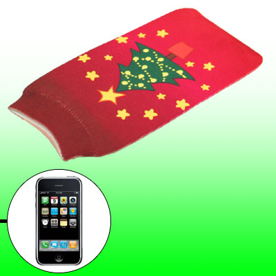 Christmas Tree Cell Phone Elastic Bag Pouch Sock Red for Smart Phone