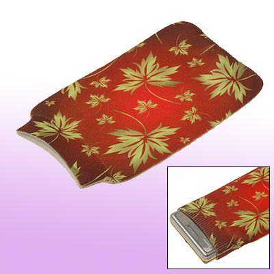 Maple Leaf Bag Elastic Fabric Pouch Sock Red for Cell Phone