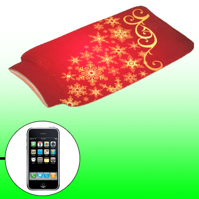 Cell Phone Snowflake Bag Elastic Pouch Sock Red for Smart Phone