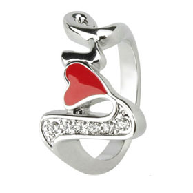 I Love You Meaning US 7.5 Red Heart Finger Ring