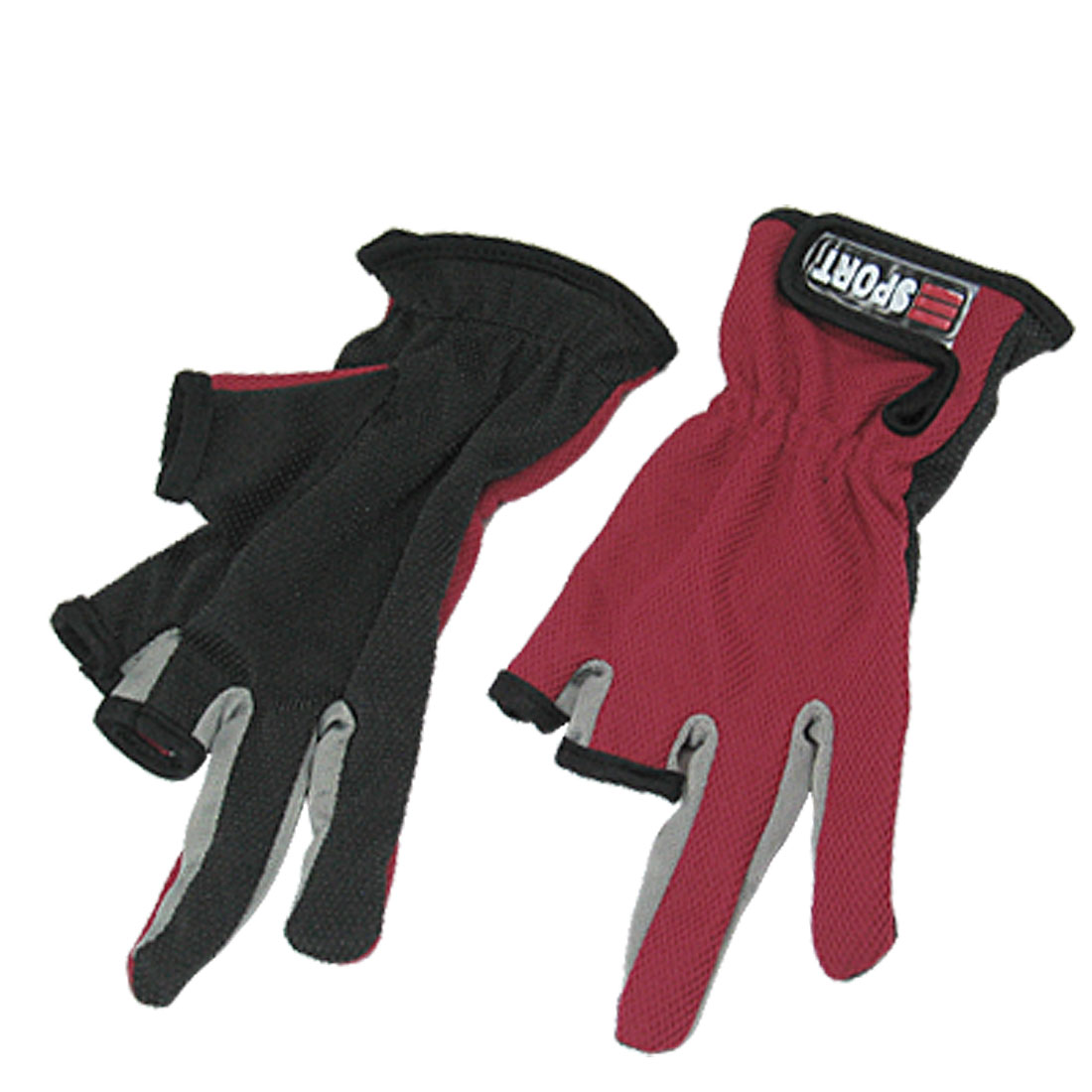 2 x Two Finger Fuchsia Black Nylon Nonslip Fishing Gloves
