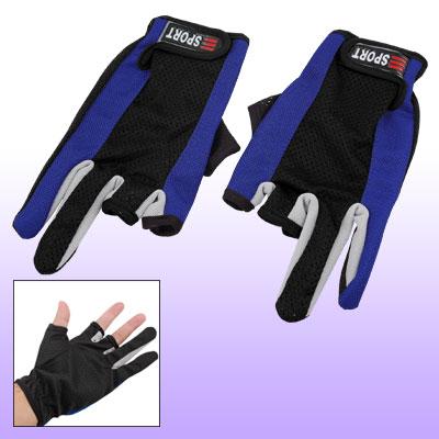2 Pcs Two Fingers Blue Black Nylon Dots Fishing Gloves