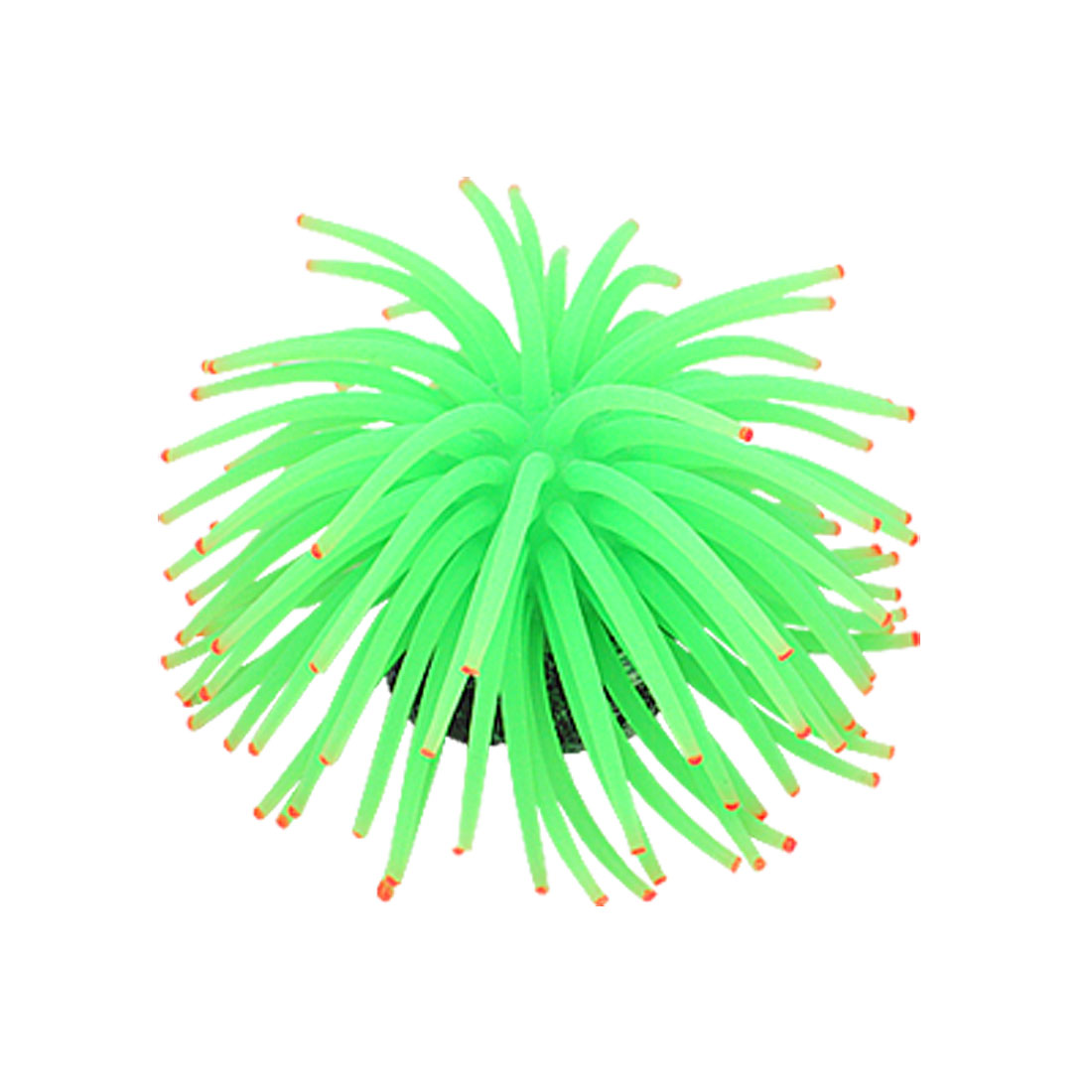 Green Silicone Sea Anemone Aquarium Fish Tank Ornament w Anchor Base