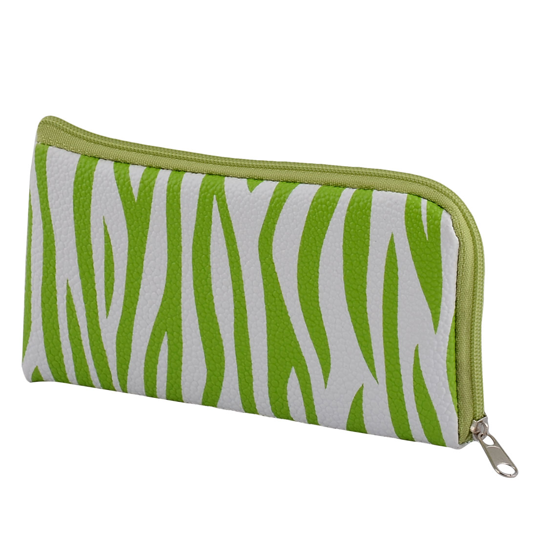 Green White Zebra Stripe Purse w Hand Strap for Smartphone