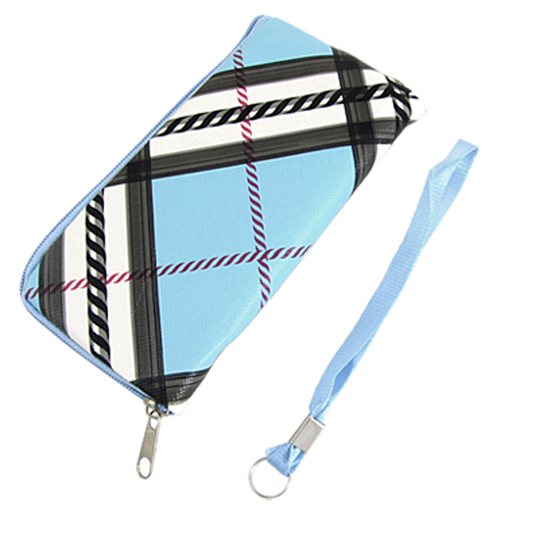 Zipper Design Bag Pouch Blue for Smartphone w Hand Strap