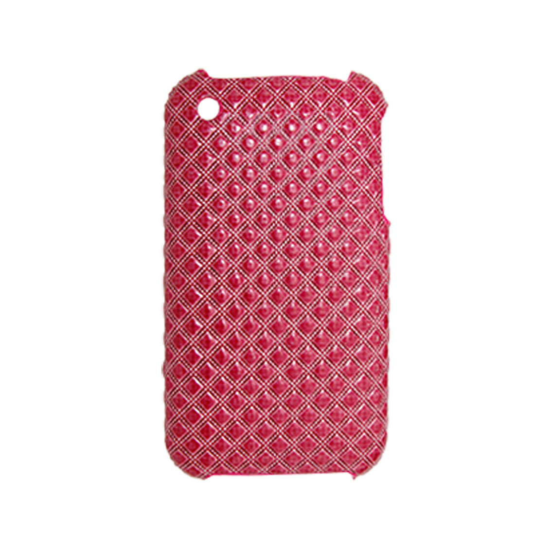 Checked Faux Leather Coated Plastic Case Red for Apple iPhone 3G