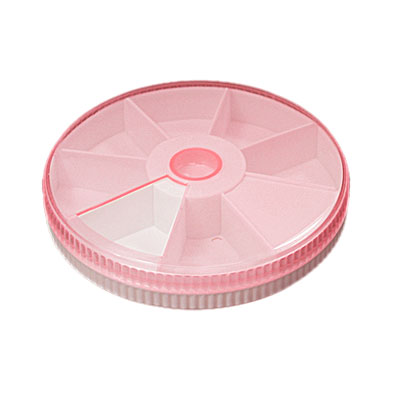 Round Style 7 Compartments Pink White Plastic Gadget Storage Box