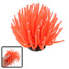 Soft Silicone Sea Anemone Aquarium Decoration Orange w Anchor Base