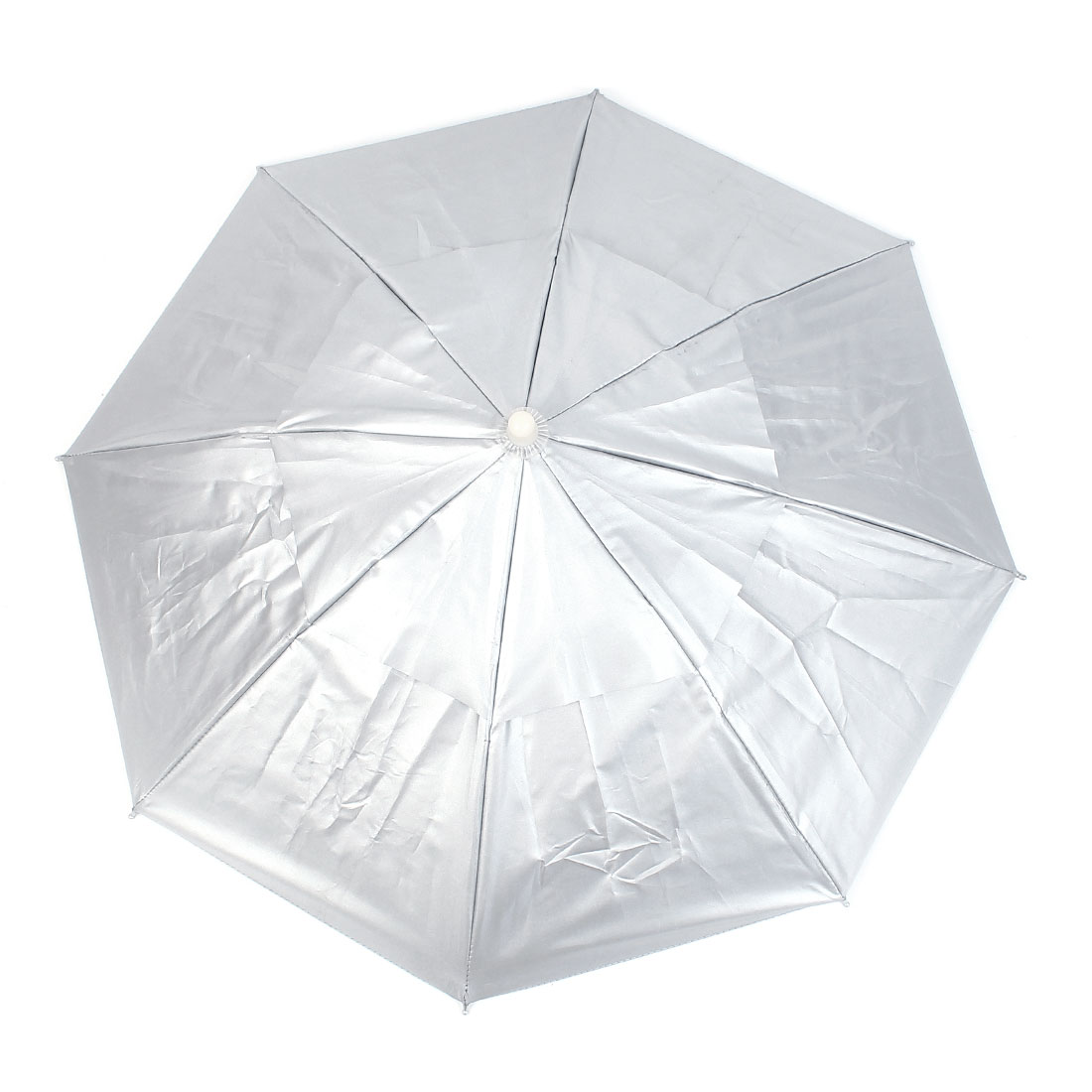 Fishing Raining Sunshine Umbrella Head Cap Silver Tone