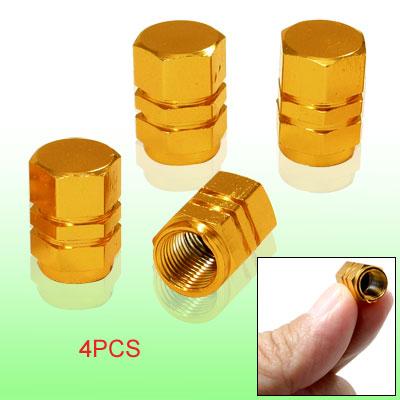 Gold Tone Tire Tyre Valves 4pcs Stems Caps Cover