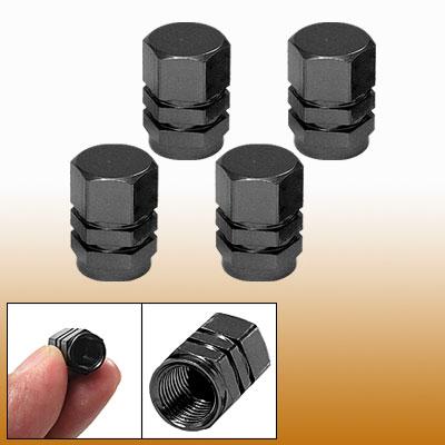 Tire Tyre Valves Stems Caps Cover 4pcs Black