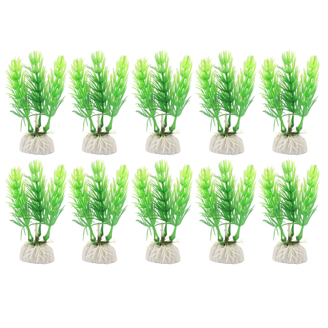 10pcs Green Plastic Plants Aquarium Fish Tank Decoration Ornament