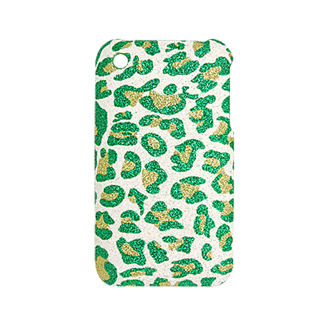 Plastic Leopard Glittery Back Case for iPhone 3G Green