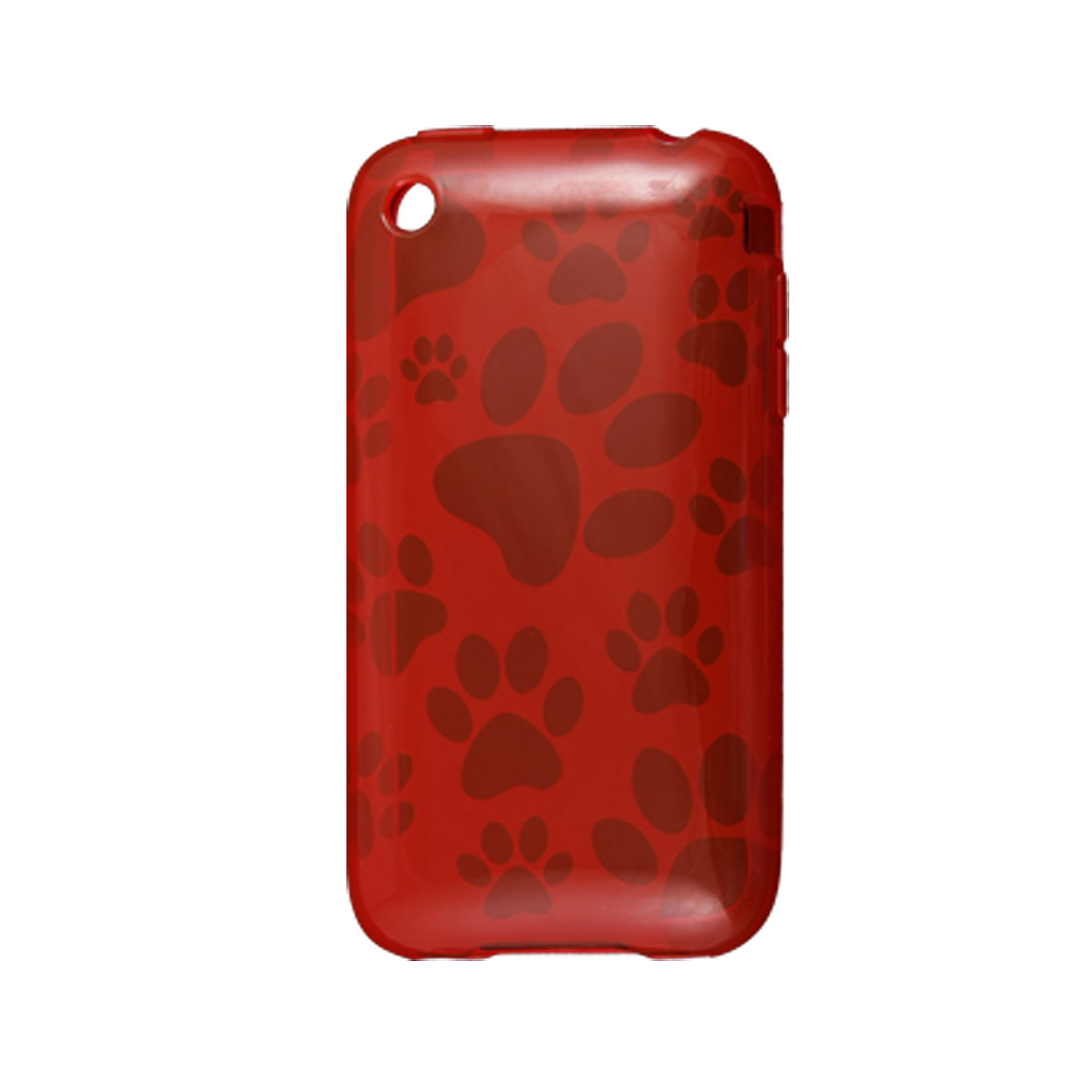 Dog Footprint Soft Plastic Case Red Shell for Apple iPhone 3G