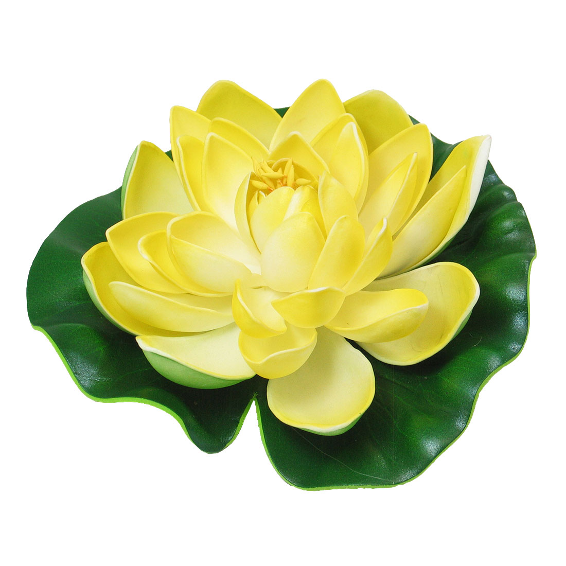 Green Yellow Floating Lotus Aquarium Pond Flower Leaf