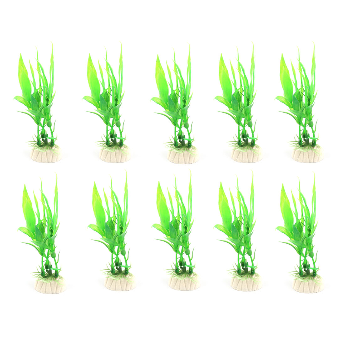Green 10Pcs Plastic Plants Aquarium for Fish Tank