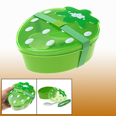 Lovely Green Strawberry Children Kid Portable Lunch Box