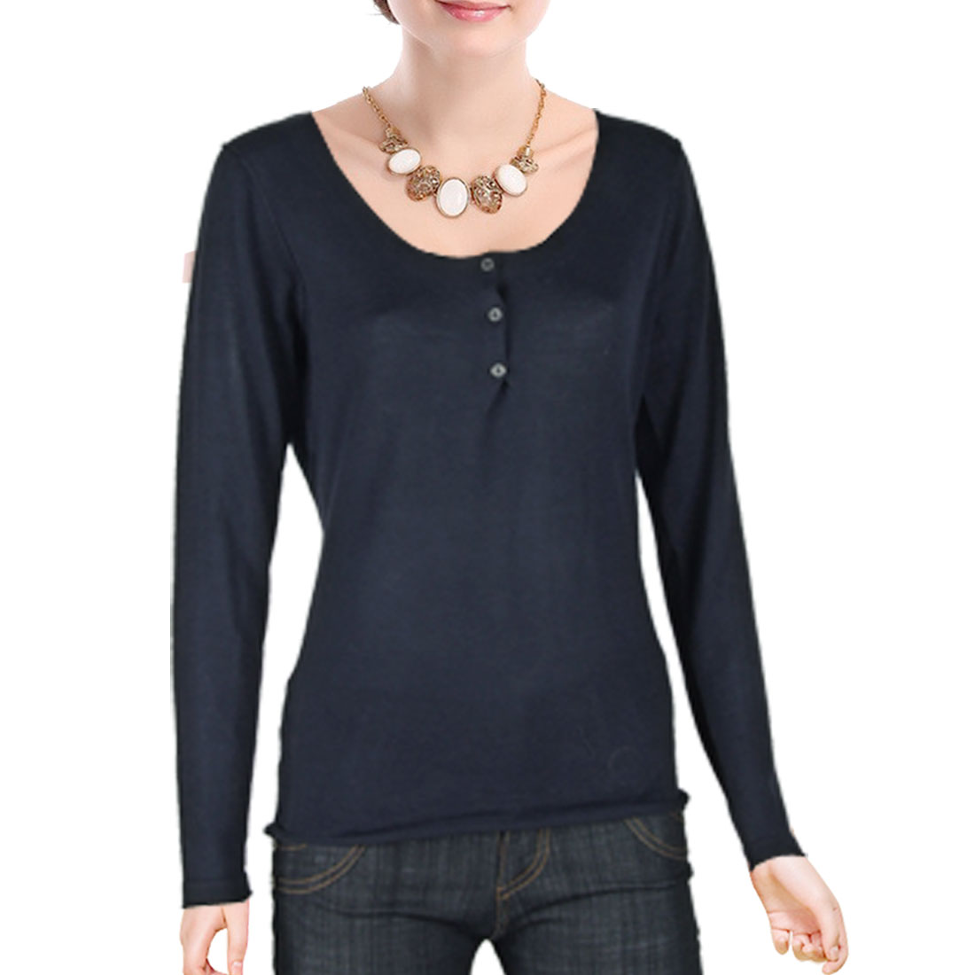 S Ladies 3 Button-down Scoop Neck Cardigan Sweater Black
