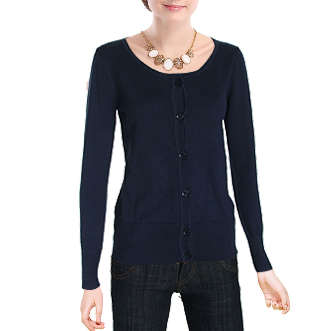 Dark Blue Long Sleeves Ladies Scoop Neckline Size S Knitted Sweater