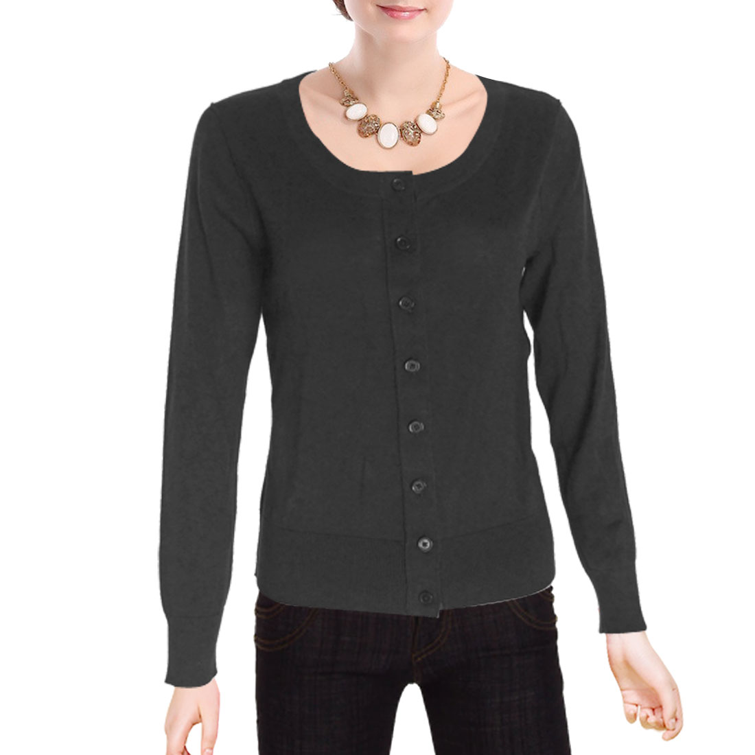 Black Long Sleeves Scoop Neckline Size S Knitted Sweater for Ladies