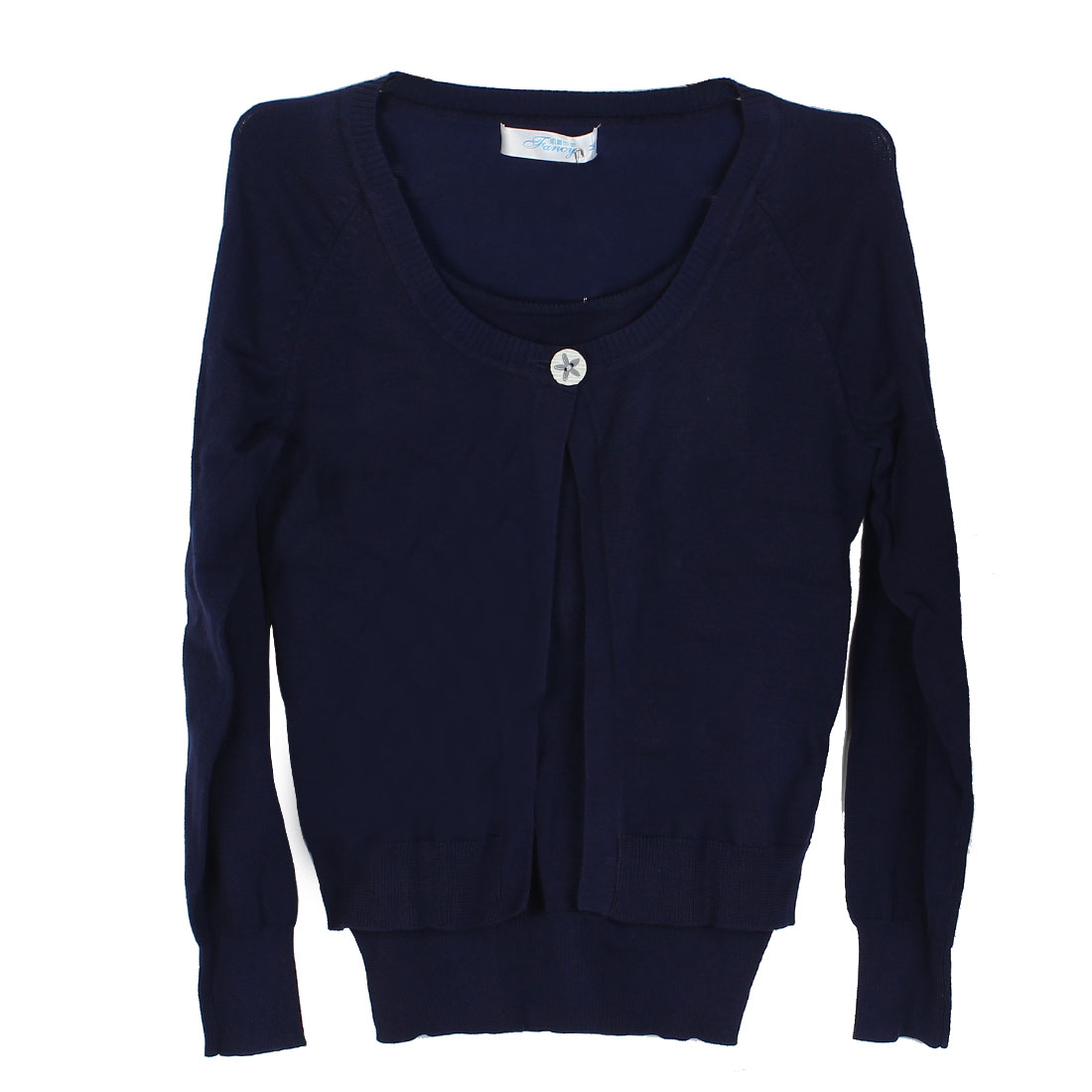 Long Sleeves Open Front Size S Navy Blue Knitted Sweater for Ladies