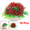 10 PCS Underwater Plastic Red Flowers Aquarium Tank Plants Decor