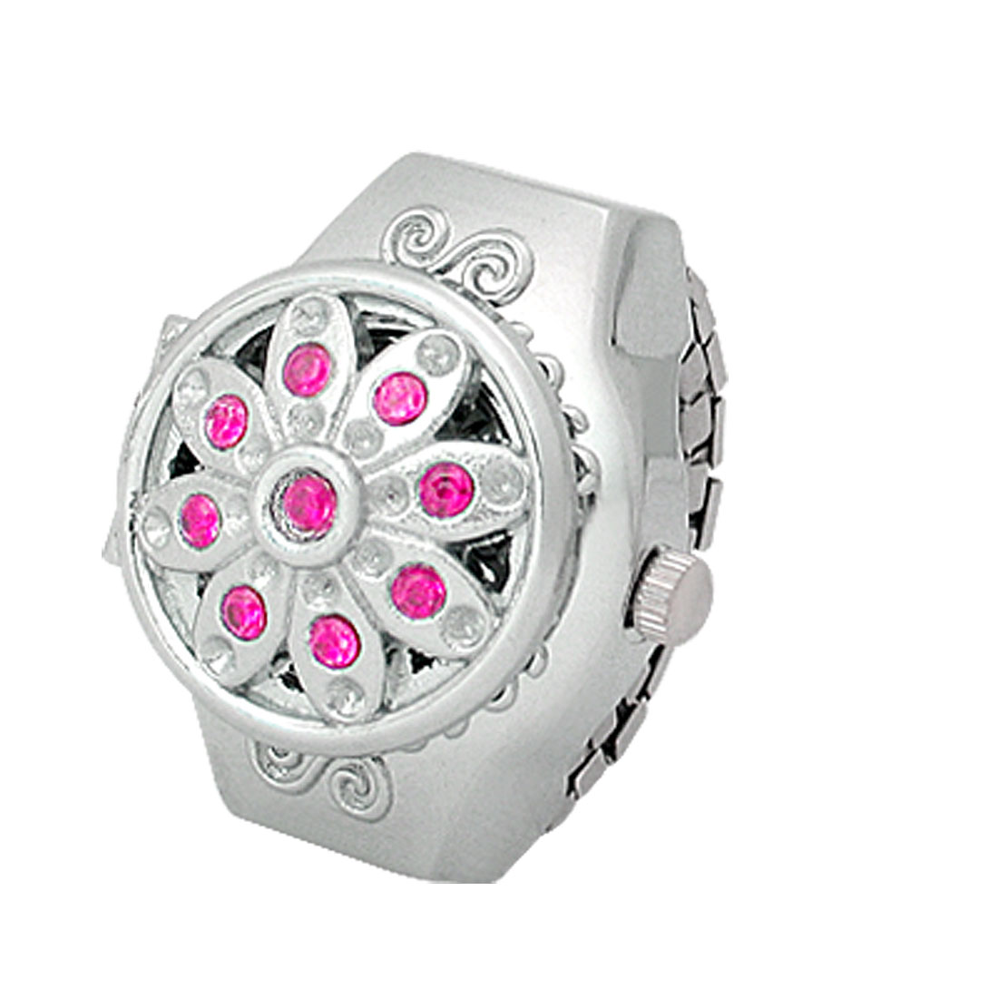 Amaranth Pink Rhinestone Silver Tone Flip Open Lady Ring Watch