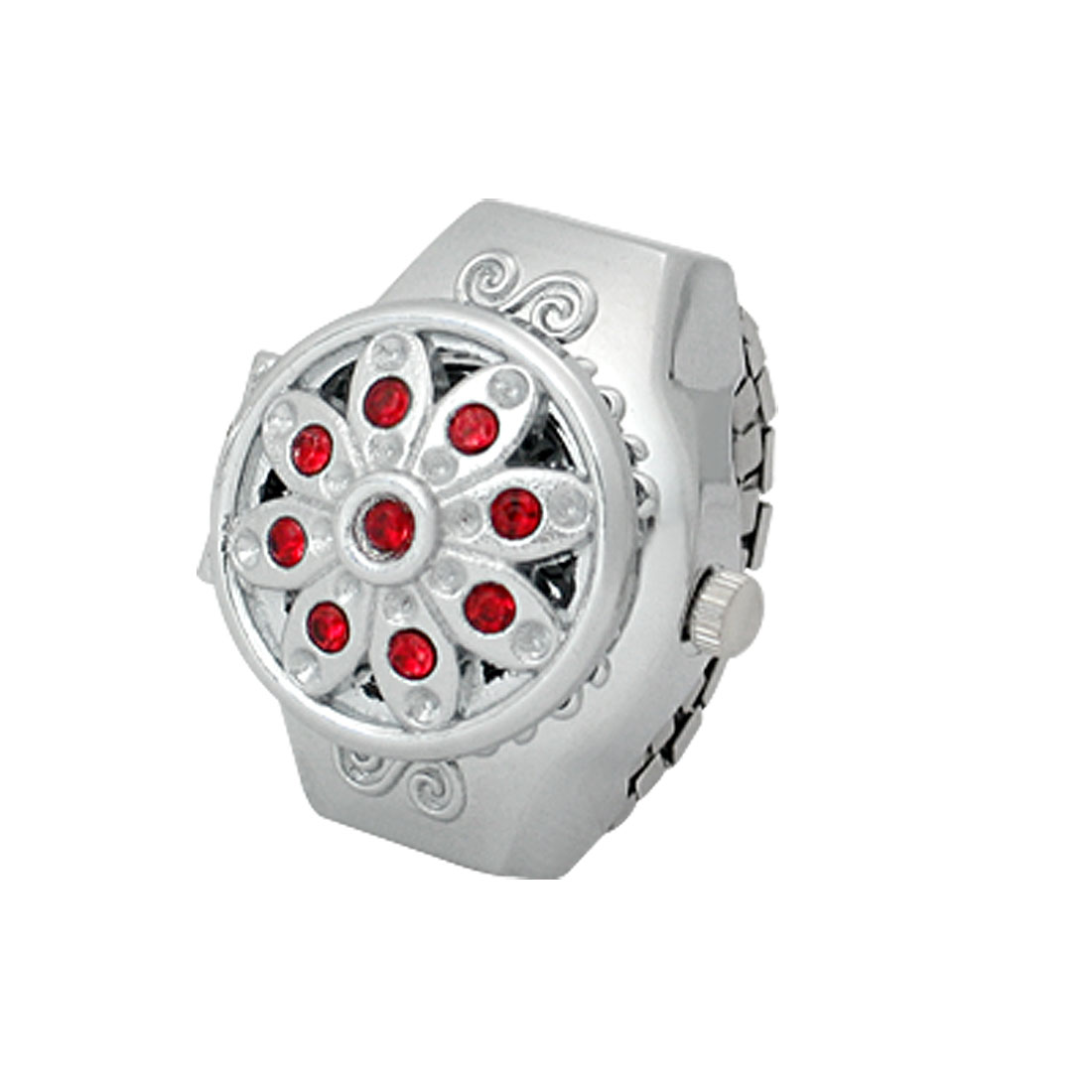 Women Flip Open White Dial Red Rhinestone Ring Watch