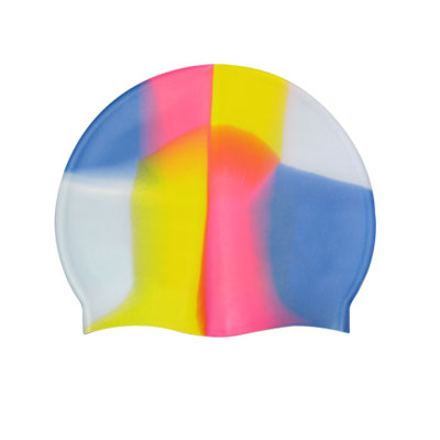Adults Multicolor Stretch Swim Cap Silicone Swimming Hat