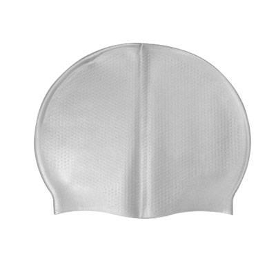 Silver Tone Elastic Sporty Silicone Swimming Hair Cap