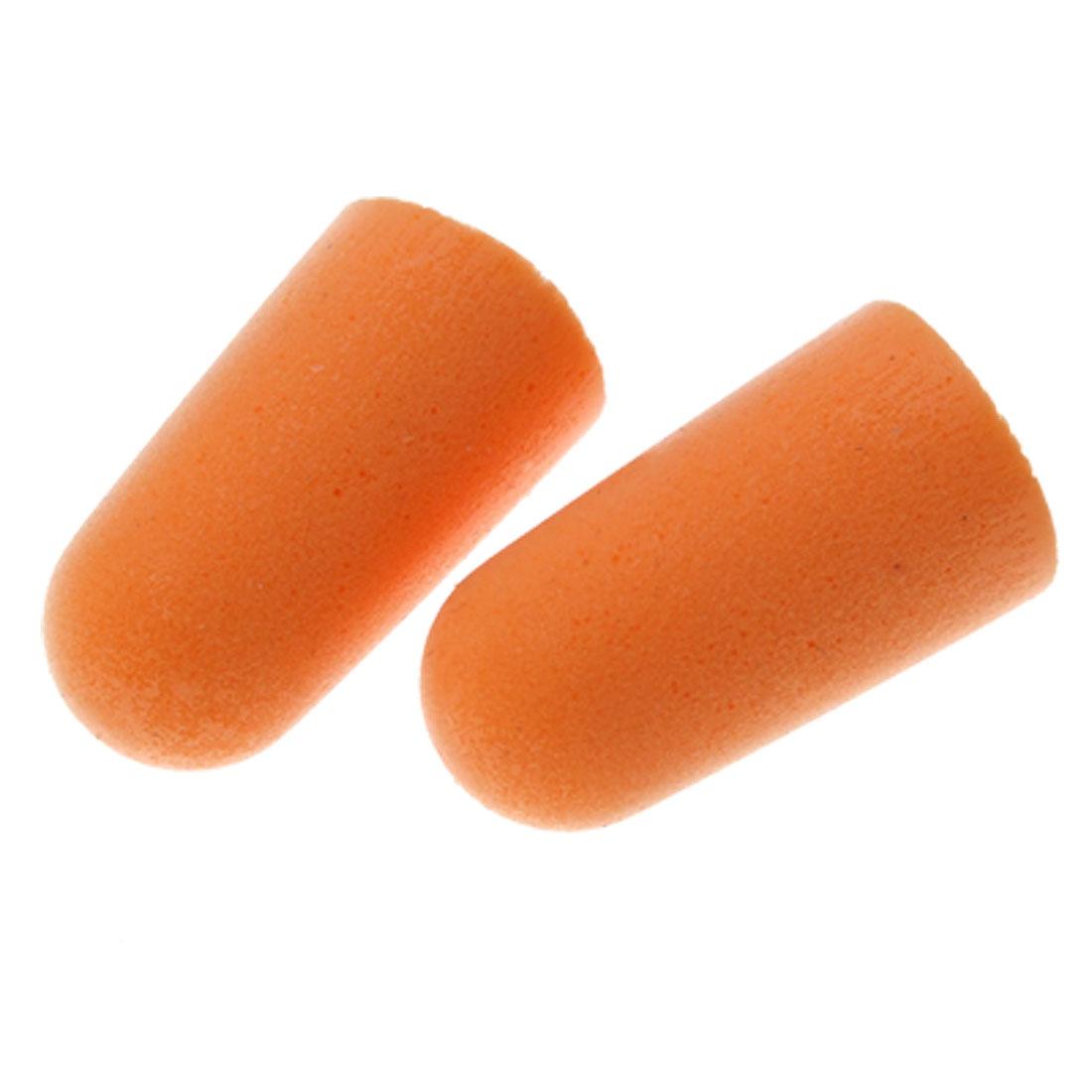 Two PCS Orange Reusable Sponge Travel Earplug Ear Protector