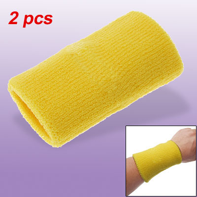 Yellow Sports Terry Cloth Sweatband Wristband Wrist Band 2pcs